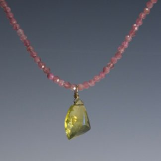 Necklace, Pink Tourmaline and Citrine