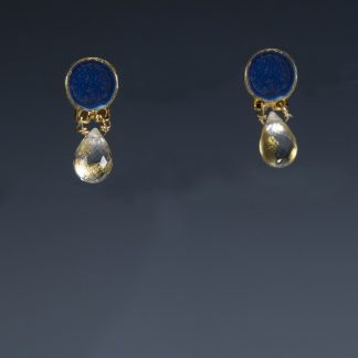 Porcelain earrings with Quartz and 24K gold
