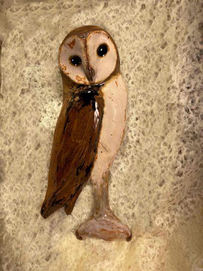 Ceramic owl, relief sculpture