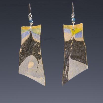 Marbled birch earrings, reversible, side-b