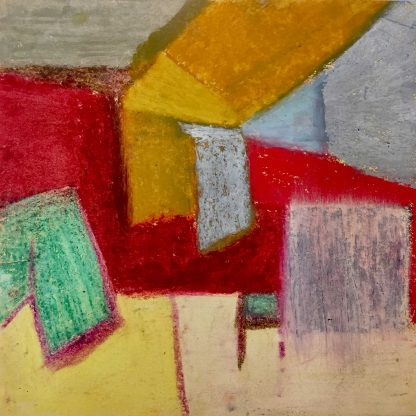 """Abstract painting, oil pastels on paper, 6"""" x 6"""""""