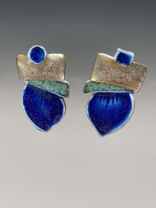 porcelain post earrings, edged with gold