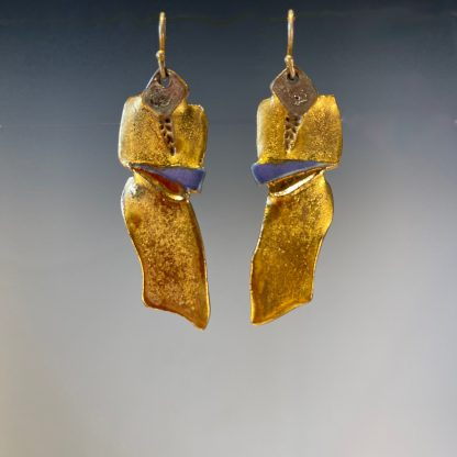 Porcelain dangle earrings with gold