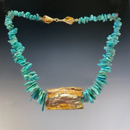 Reversible Porcelain necklace with turquoise, side-b