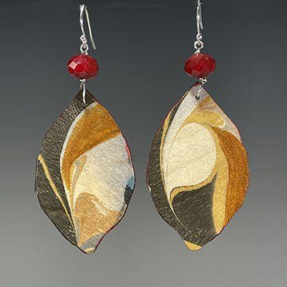 Reversible marbled birch earrings, side b