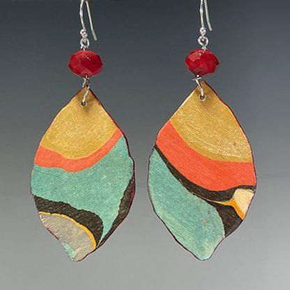 Reversible marbled birch earrings, side a